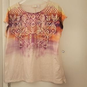 Chico's Purple And Pink Embellished Top